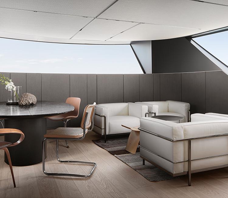 Sanlorenzo yacht SX112 design Piero Lissoni. Rovere  selezionato alta resistenza.